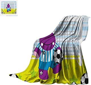 Luoiaax Sports Lightweight Blanket Cute Hippopotamus Soccer Goal Keeper Football Play Cartoon Print Velvet Plush Throw Blanket 80