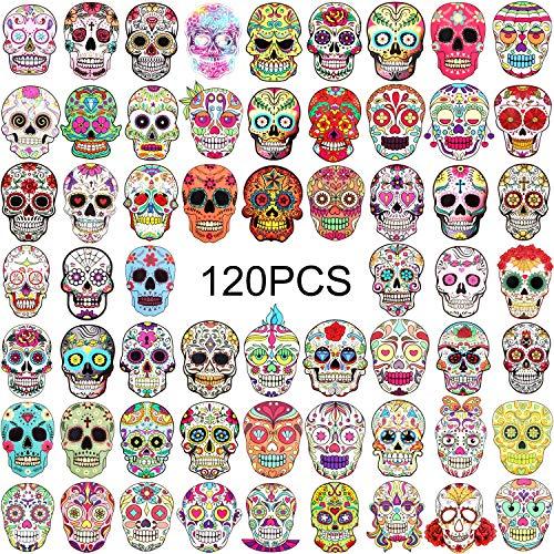 120 Stücke Schädel Aufkleber Halloween Zucker Schädel Aufkleber Dia De Los Muertos Mexikanischen Day Toten Aufkleber für Laptop Wasserflasche Gepäck Fahrrad Computer