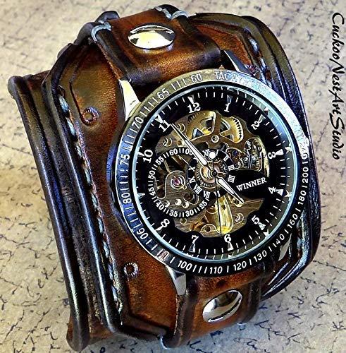 Men's steampunk leather watch, Skeleton wrist watch, Wide Leather Watch Cuff, Vintage leather watch, Bracelet watch, Men's gift