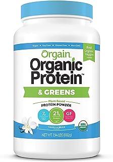 Orgain Organic Plant Based Protein & Greens Powder, Vanilla Bean - Vegan, Dairy Free, Gluten Free, Lactose Free, Soy Free,...