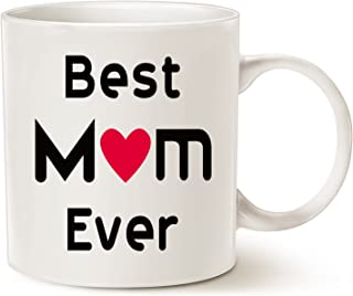 MAUAG Christmas Gifts Best Mom Coffee Mug, Best Mom Ever Unique Holiday or Birthday Gifts Idea for Mom Mother Mama Mommy Cup White, 11 Oz