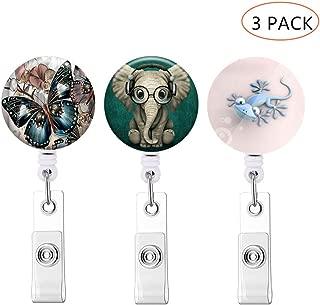 3 Pack Badge Reel Retractable Badge Holder with Alligator Clip ID Card Holder Nursing Badge Reel Holder (Color 3-1) (Butterfly Elephant Gecko)