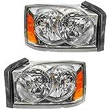 Headlights Headlamps Left & Right Pair Set for 05-07 Dodge Dakota Pickup Truck...