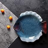 DIELUNY Home Big Wrist Keramikteller, flach, hochwertiges Geschirr, kreatives Westernbrett, dekoratives Hotel, Retro-Suppenschüssel (Farbe: Blau, Größe: 19,1 cm, Seestern-Schmetterling)