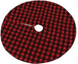 Asdomo 35 Inch Christmas Tree Skirt, Red and Black Buffalo Plaid Xmas Tree Skirt Double Layers Check Tree Skirt for Christmas Holiday Decoration