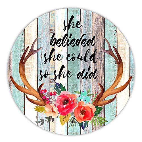 AGMdesign She Believed She Could So She Did Round Mouse Pad, Inspirational Quote Mousepad, Desk Accessories, Coworker Gifts, Non-Slip, Waterproof, Stitched Edges, 7.87 x 7.87 x 0.12 Inch