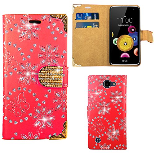 FoneExpert® LG K4 Handy Tasche, Bling Diamant Hülle Wallet Hülle Cover Hüllen Etui Ledertasche Premium Lederhülle Schutzhülle für LG K4