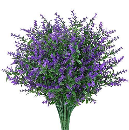 Ksnnrsng 6 Stück Künstliche Blumen, Kunstblumen Balkon Unechte Deko Künstliche Pflanze Grün UV-beständige Sträucher Freien Innen für Haus Garten Fenster Blumenschmuck (Lila)