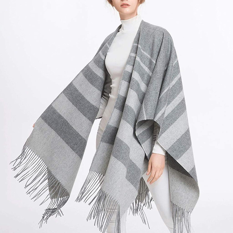 CHX Winter Woman Scarf Thicken Keep Warm Cloak Large Shawl 186cm × 120cm V (color   B)