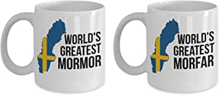 Swedish Grandparents Mug Set - Mormor and Morfar Coffee Cups With Sweden Flag - Birthday, Mother's & Father's Day, Christmas Novelty Gift For Men & Women With Nordic Scandinavian Viking Pride