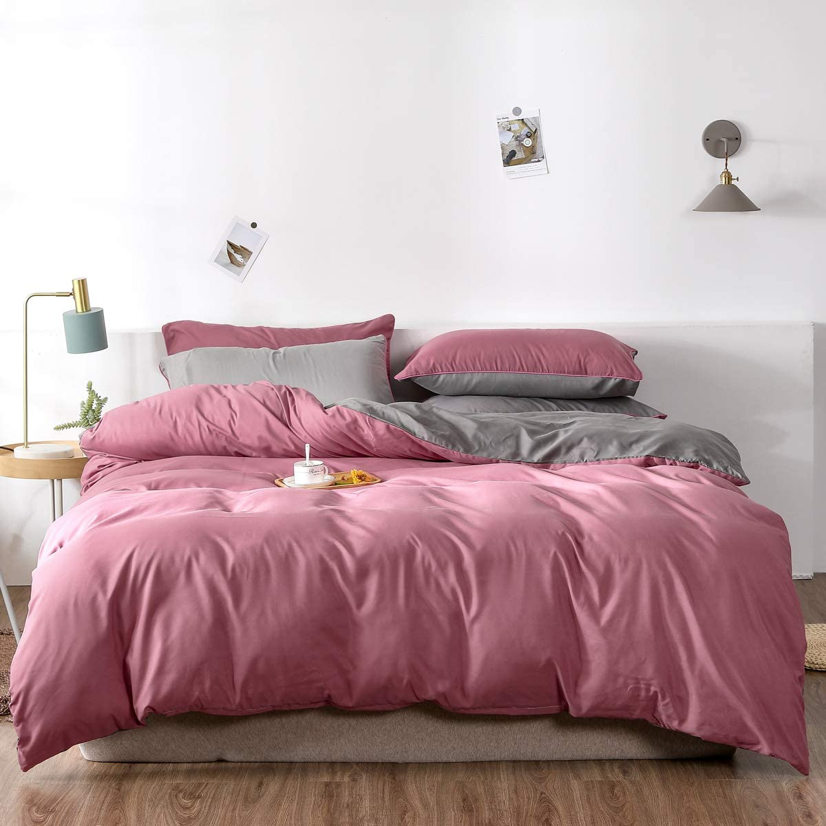 Max 78% OFF Manfei Rose Gray Duvet San Jose Mall Cover Set Microfiber Bed Solid 100% Color