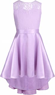 iiniim Big Girls' Big Floral Lace High Low Ball Prom Party Bridesmaid Dress