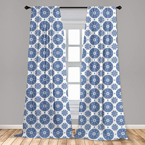 """Ambesonne Vintage Curtains, French Country Style Floral Circular Pattern Lace Ornamental Snowflake Design Print, Window Treatments 2 Panel Set for Living Room Bedroom Decor, 56"""" x 84"""", Blue White"""