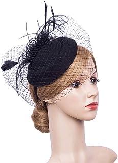 df1ac5fee18b7f Cizoe Fascinator Hair Clip Pillbox Hat Bowler Feather Flower Veil Wedding  Party Hat Tea Hat
