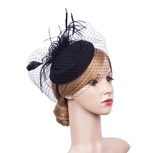 81765b297d053 Cizoe Fascinator Hair Clip Pillbox Hat Bowler Feather Flower Veil Wedding  Party Hat Tea Hat