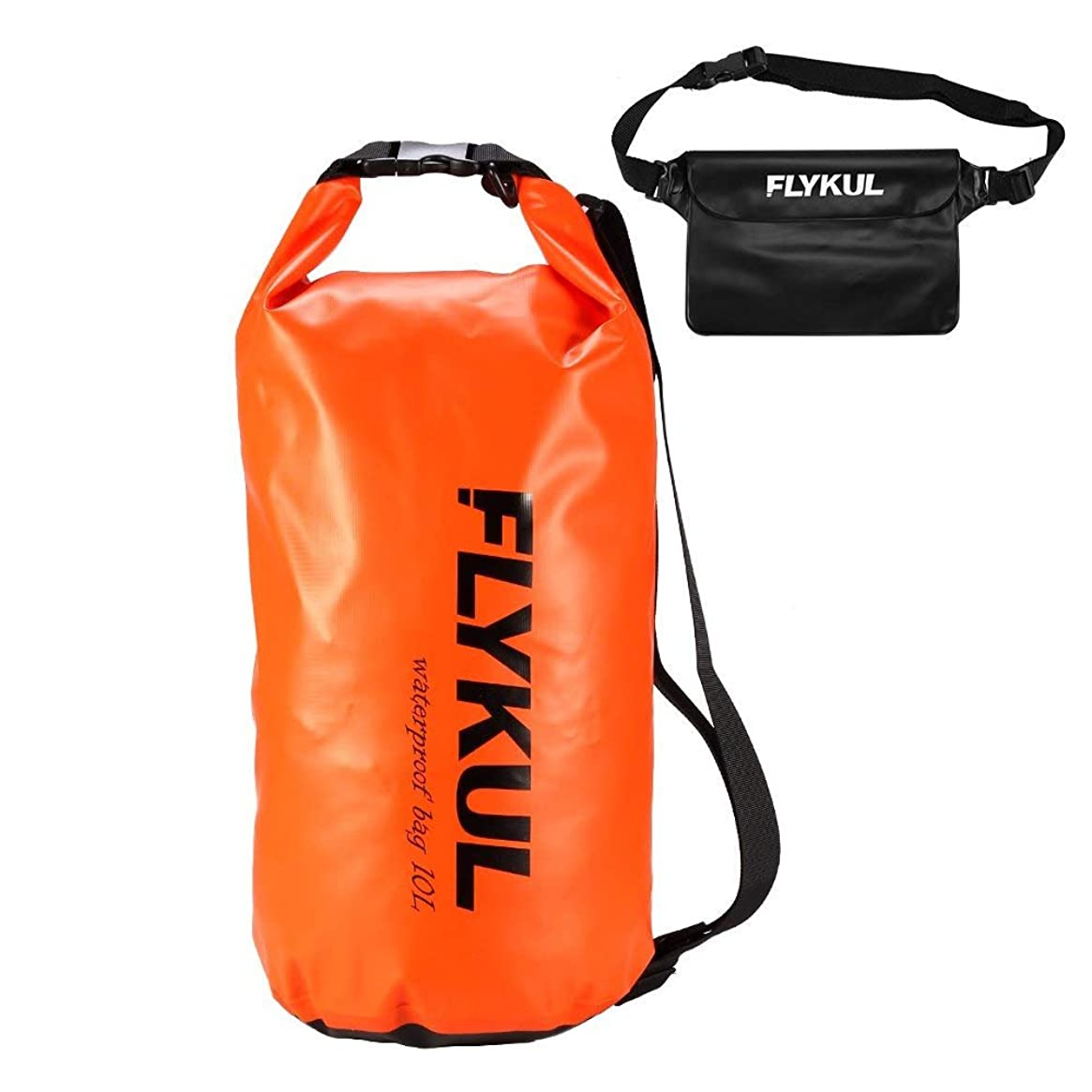 Attuosun Waterproof Dry Bags Sets of 2,10L Orange Waterproof Pouch&Black Waterproof Waist Pouch,Super Waterproof Protection Dry Bags 1 Adjustable Shoulder Strap,Perfect for Boating,Swimming,Kayaking