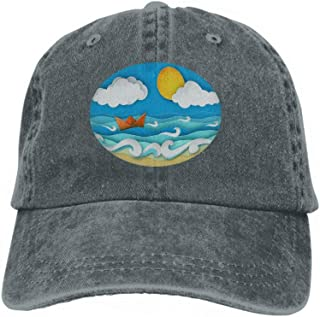 Unisex Jeans Baseball Cap Classic Cotton Dad Hat Adjustable Plain Cap Origami Sailing Boat Made Paper sea Waves Tropical Beach Pap Carbon
