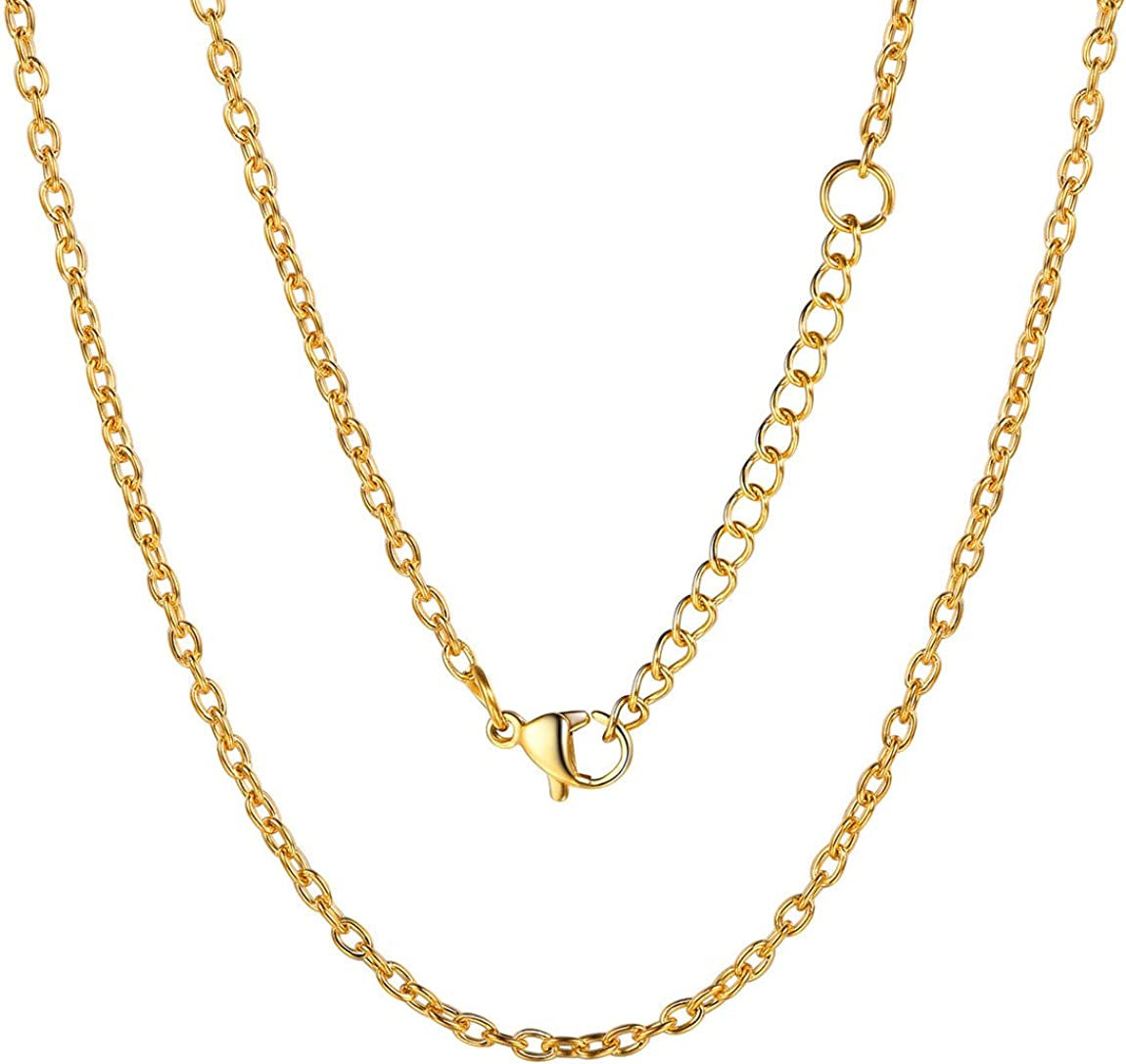 """ChainsPro Women 1.2mm Slim Snake Chain, Replacement Necklace, 18-30"""" Length, 18K Gold/Rose Gold Plated (Send Gift Box)"""