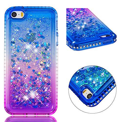 SpiritSun Funda para iPhone 5 / 5S Silicona TPU Carcasa Transparente Líquido Bumper Tapa Caso Cubierta Trasero Flexible Suave Protectora Cover para iPhone 5 / 5S / SE [Antigolpes] - Azul Púrpura
