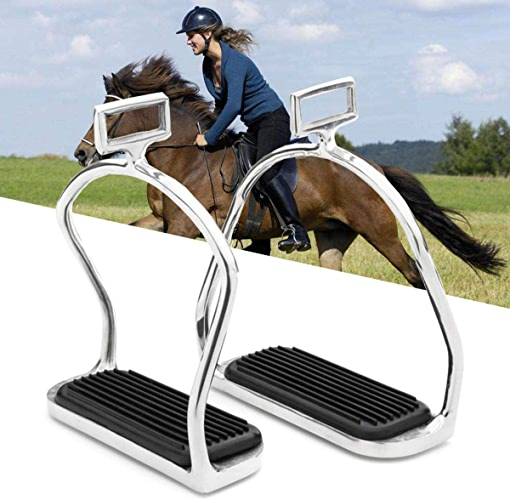 Anddod Horse Riding Stirrups Stainless Steel Double Bent Safety Stirrups Irons