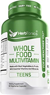 Whole Food Multivitamin for Teens (Boys & Girls) Kids & Children Plant Based with 62 Superfoods Raw Veggies, Fruits Vitami...
