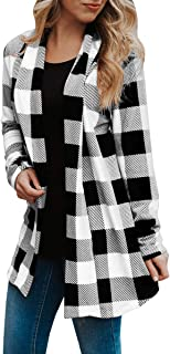 OHDREAM Womens Buffalo Plaid Shirt Plus Size Cardigan with Pockets Jackets Long Sleeve Open Front Elbow Patch Coat
