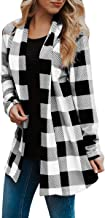 Womens Buffalo Plaid Long Sleeve Plus Size Open Front Elbow Patch Cardigans