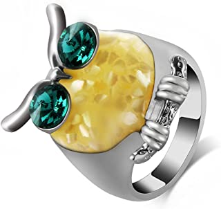 Ajojewel Shell Crystal Brid Owl Rings for Women Animal Jewelry
