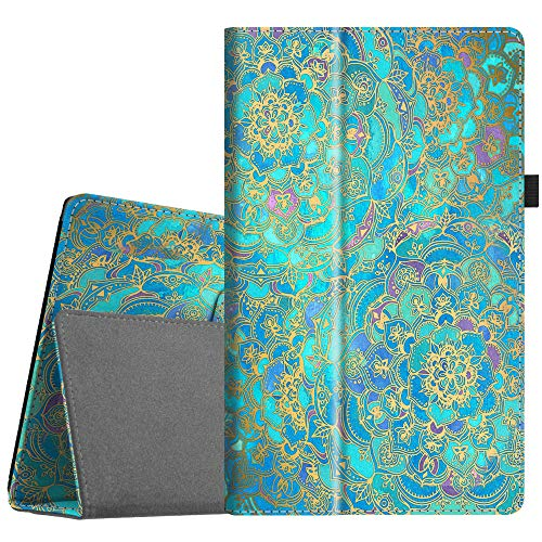Fintie Folio Case for All-New Amazon Fire HD 10 Tablet (Compatible with 7th and 9th Generations, 2017 and 2019 Releases) - Premium PU Leather Slim Fit Stand Cover with Auto Wake/Sleep, Shades of Blue