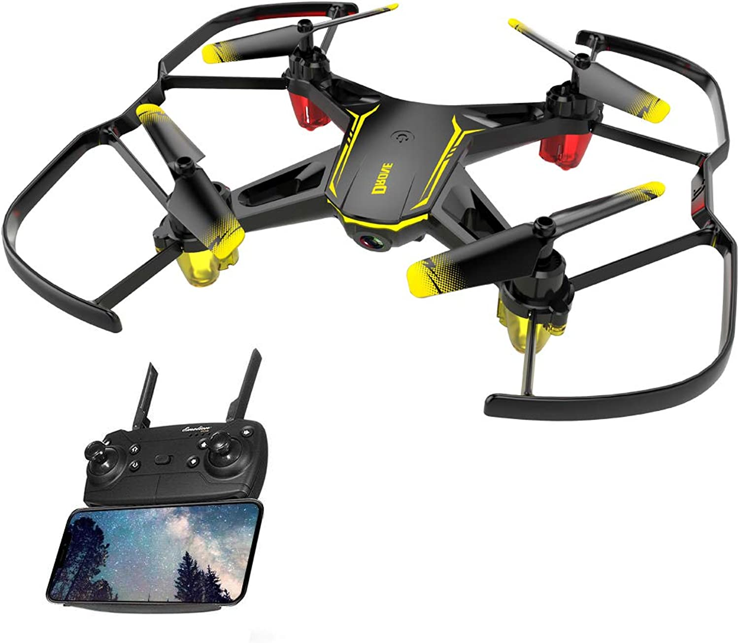 Goolsky GW66 RC Drone with Camera 480P WiFi FPV Quadcopter Altitude Hold RC Training Helicopter with LED Llight Headless Mode RC Toy for Kids Gift