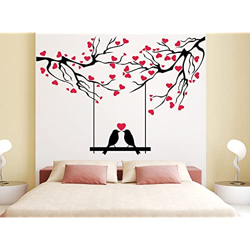 Orange And Orchid Love Bird With Red Small Heart Wall Sticker( Pvc Vinyl, 140 Cm X 100 Cm)