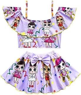 Girls Off Shoulder Swimsuits Toddler Two Piece Bikini Set Ruffle Doll Print Swimwear for Doll Surprised