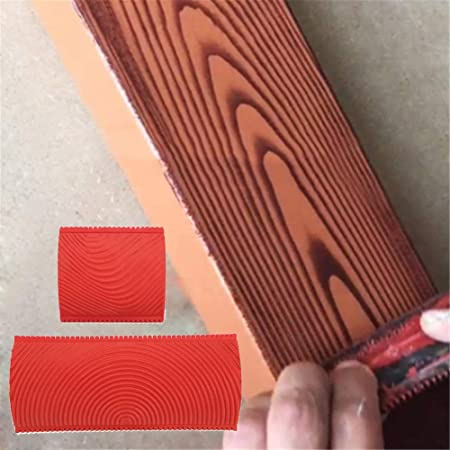 2PCS Wood Grain Pattern Rubber DIY Graining Painting Tool For Wall Decoration