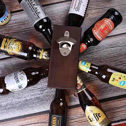 newO Apribottiglie Magnetico da Parete in Legno con Calamita per Frigorifero per Birra/Bevande in Bottiglia