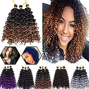 Afro Marlybob Crochet Hair Braids 8 Inch Water Wave Kinky Curly Synthetic Hair Extensions Jerry Curl Hair Twist Weave for Black Women 6 Bundles/Pack Ombre Black to Golden Brown