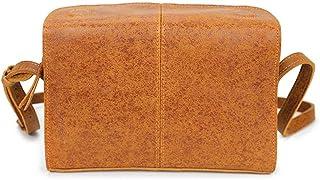 Fine Bag/Men's and Women's Shoulder Messenger Bag Flash Point Leather Messenger Bag Messenger Bag Header Leather Simple Retro Style (Color : Yellow, Size : 25 * 7 * 18cm)