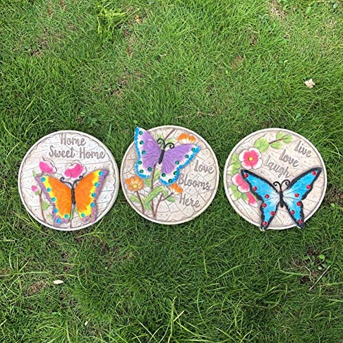 erddcbb Stepping Stone Set Garden Animal Statue Decor Yard Lawn Outdoor Sidewalk Welcome Plaque,ButterflyA+3pcs