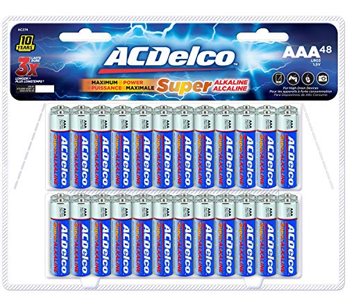 ACDelco 48-Count AAA Batteries, Maximum Power Super Alkaline Battery, 10-Year Shelf Life