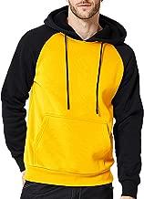 DUOFIER Men's Contrast Raglan Long-Sleeve Pullover Blend Fleece Hoodie with Kanga Pocket