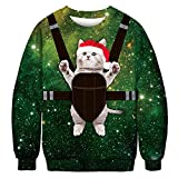 BFBMY Unisex Uomini Donne 2020 Brutto Natale Maglione Santa Elf Divertente Natale Finto Capelli Jumper Autunno Inverno Top Abbigliamento All'ingrosso (Colore: 025, Taglia: L (66 80) kg)