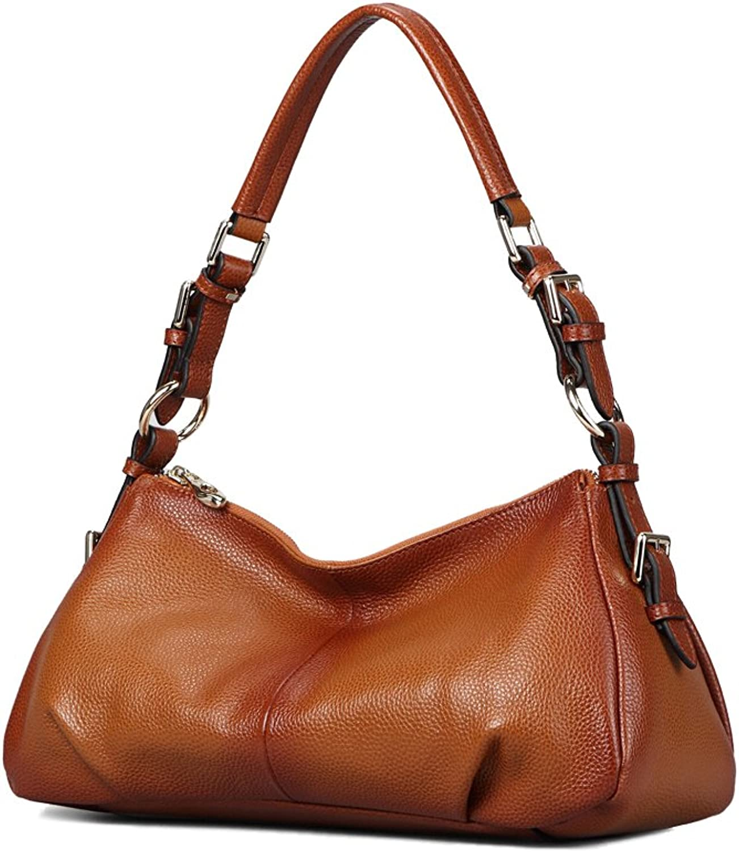 Borgasets Ladies' Vintage Leather Hobo Shoulder Handbag