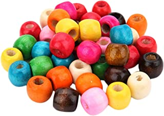 Baoblaze 200pcs Large Hole Painted Wood Beads Wooden Charms Dyed Bead for Jewelry Making Craft DIY Macrame Bracelets Neckl...