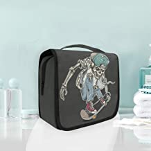 Cosmetic Makeup Toiletry Bag Travel Fashion Skeleton Skull Riding Skateboard Hanging