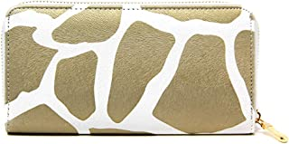 Me Plus Women Fashion PU Faux Leather Animal Print Long Wallet with Zipper Closure Card Slots Zipped Coin Pouch