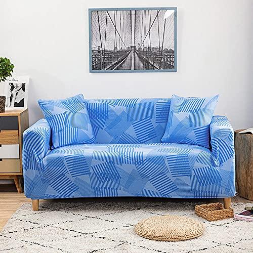Funda de Sofá 3 Plazas,Jacquard Poliéster Funda Sofa Elasticas Suaves Resistentes Sofa Antideslizante, Cubierta para Sofa Protector-Azul, Triángulo, Barra Horizontal