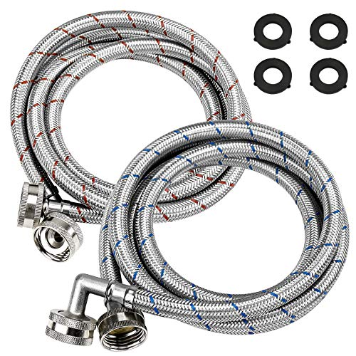 Beaquicy Washer Stainless Steel Hoses with 90 Degree Elbows - 6 Ft Long Red and Blue (2 Pack) Burst Proof - Hot and Cold Striped Water Supply Lines for Washing Machine