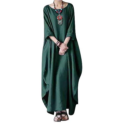 3792676444a BBYES Women Summer Casual Loose Kaftan Cotton Linen Boho Tunic Dress with  Pockets Green#1