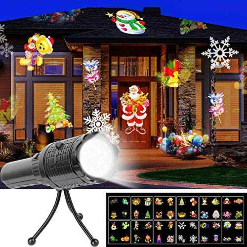 UNIFUN LED Projector Flashlight, Battery Operated Christmas Portable Projector Light 12 Pattern Slides Tripod Halloween Easter Birthday Party Holiday Decoration Xmas