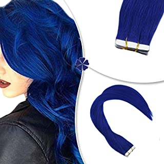 Hetto Tape on Hair Extensions Human Hair 10 Pieces 20g Per Pack 14 Inch Straight Tape Real Hair Extensions Double Side Tape in Color #Blue Brazilian Remy Hair Extensions