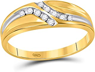 Dazzlingrock Collection 10kt Yellow Gold Mens Round Diamond Double Row Slender Wedding Band 1/8 ctw